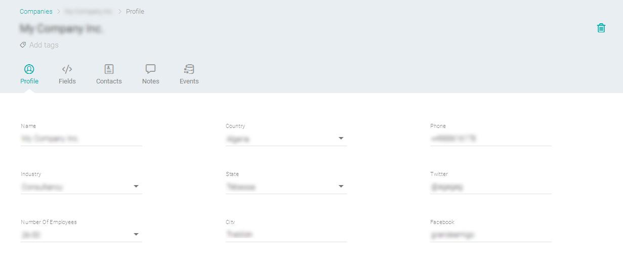 Visualizando as informações do perfil da empresa