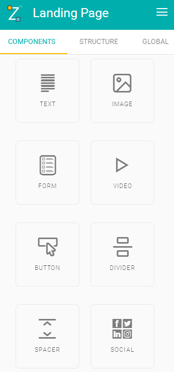 Menu Components do Construtor de Landing Pages
