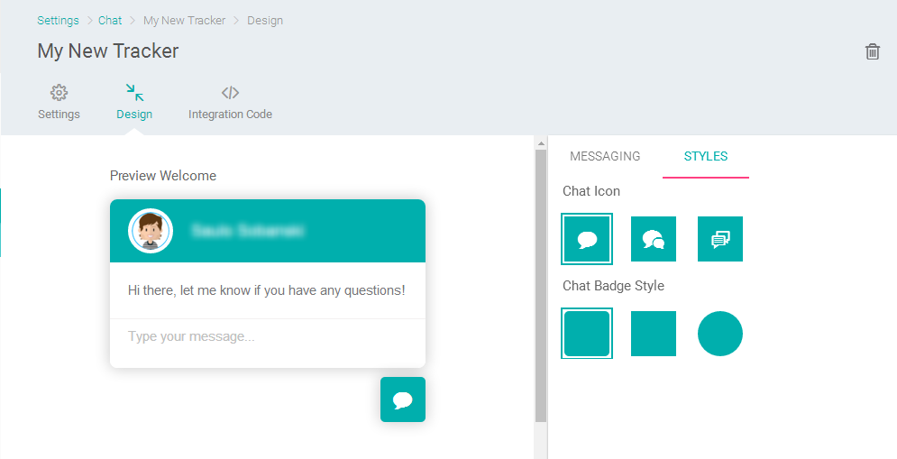 Personalizando o visual do chat online