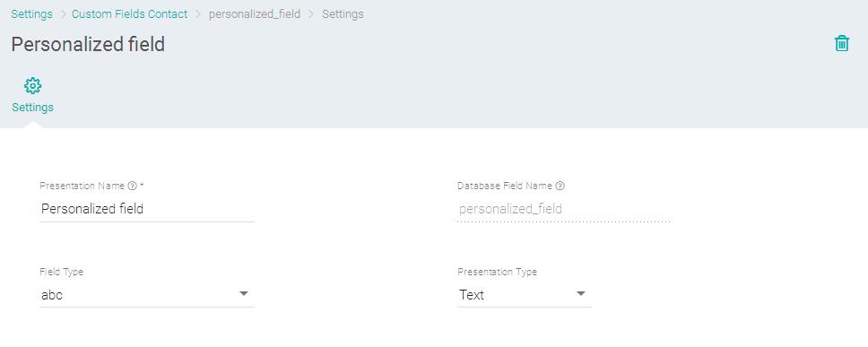 Adicionando e editando um campo personalizado