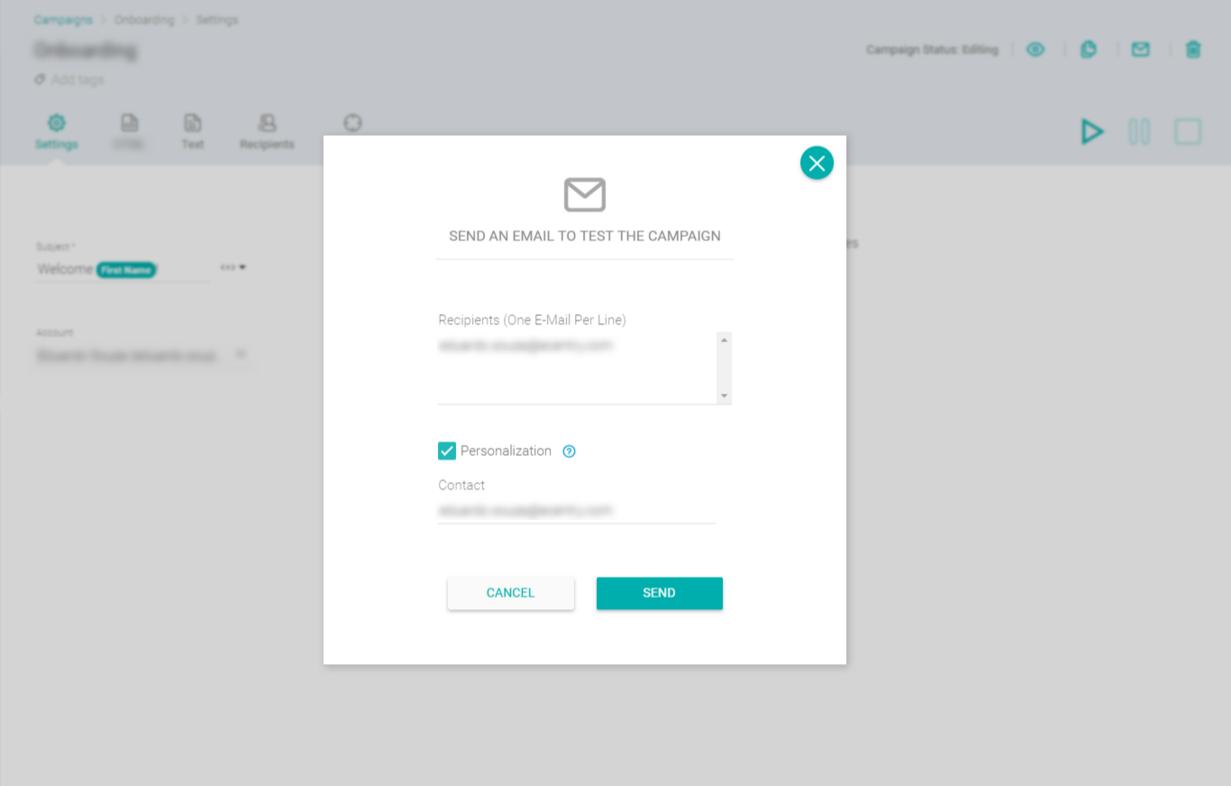 Fazendo o teste de envio de campanha de e-mail