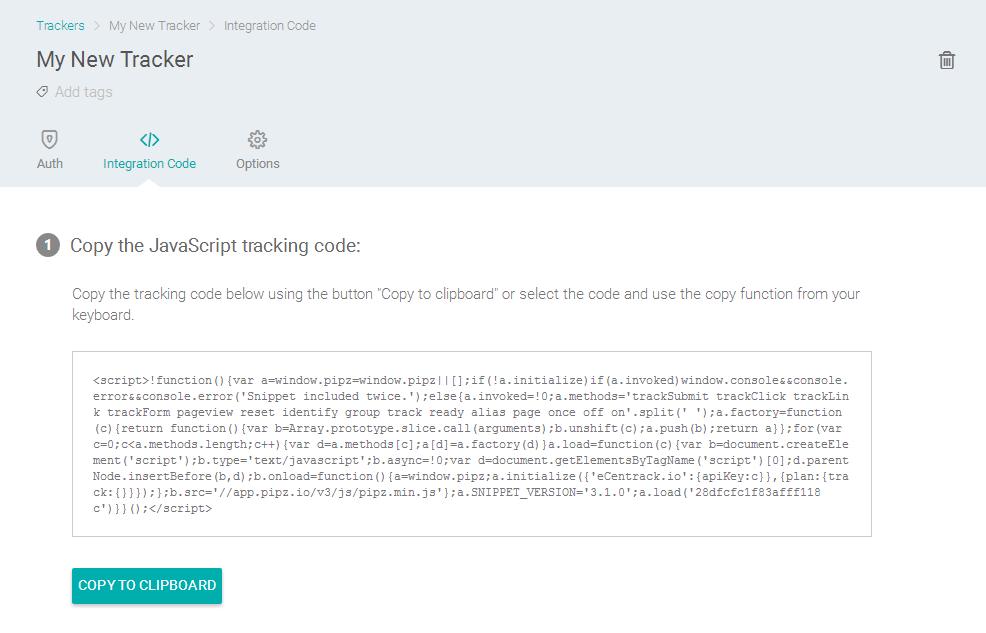 Tracker > Integration Code