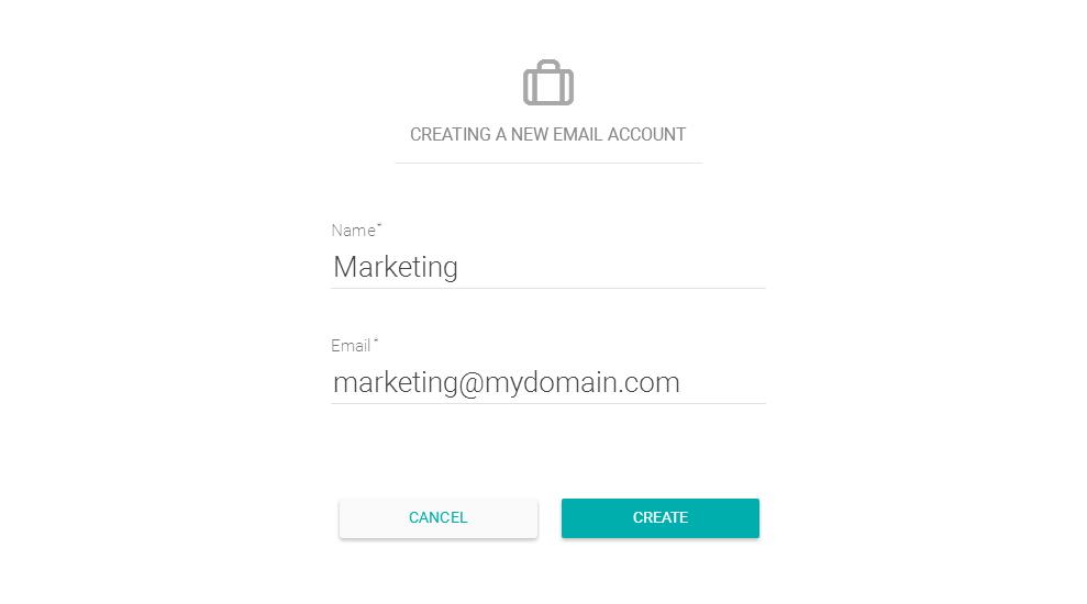 Criando uma nova conta de envio de e-mail