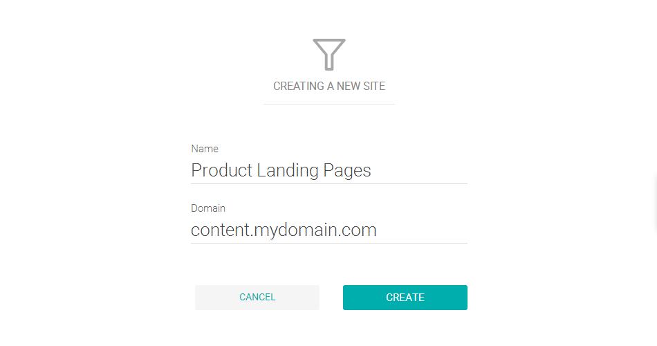 Adicionando um novo domínio de conteúdo personalizado