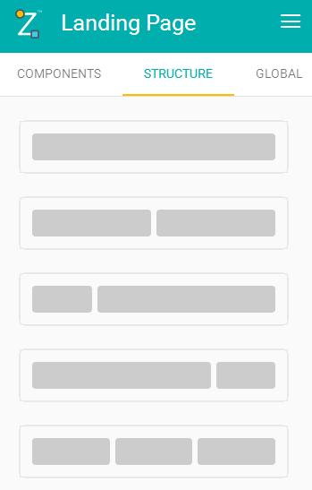 Menu Structure do Construtor de Landing Pages